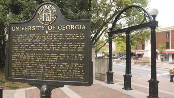 ATHENS, GA - MAY 4:  The University Arch is the traditional entrance to the University of Georgia campus shown here on May 4, 2009 in Athens, Georgia. The wrought-iron Arch, erected in 1858, is patterned after the Great Seal of Georgia.  (University of Georgia/Collegiate Images/Getty Images)