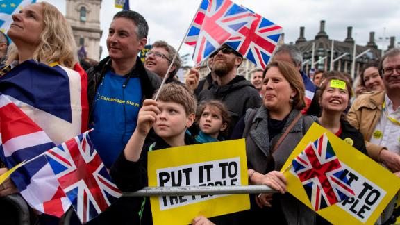 LONDON, UNITED KINGDOM - MARCH 23: Protesters take part in the Put It To The People March on Whitehall on March 23, 2019 in London, England. Thousands of protesters gathered in central London today to take part in the Put It To The People March. The march from Park Lane to Parliament Square was organised by the Peoples Vote campaign and is calling for a public vote on the Government's final Brexit deal. (Photo by Dan Kitwood/Getty Images)