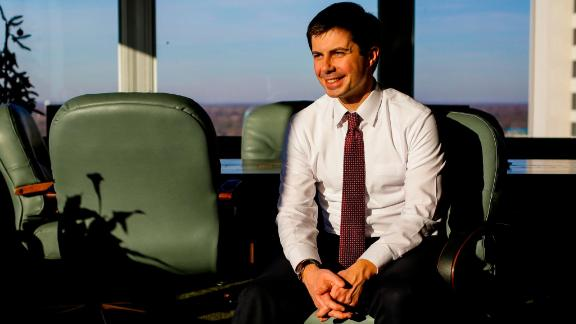 Pete Buttigieg, the former mayor of South Bend, Indiana, poses for a portrait at his office in December 2018.