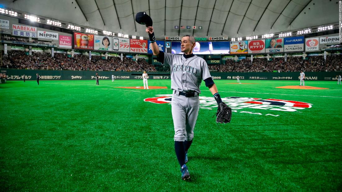 Seattle Mariners outfielder Ichiro Suzuki acknowledges fans while exiting the field during the eighth inning of a game against the Oakland Athletics at Tokyo Dome on March 21. On Thursday, the veteran outfielder announced his retirement after playing 19 seasons in the MLB.