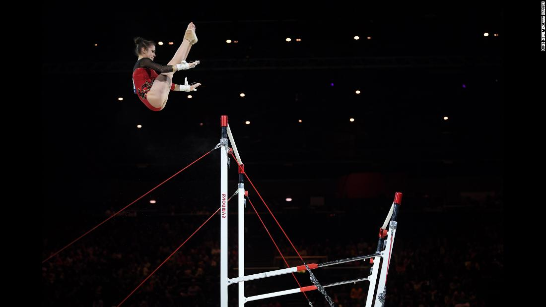 Leah Griesser of Germany performs on the uneven bars during the 2019 Gymnastics World Cup at Resorts World Arena in Birmingham, England on Saturday, March 23.