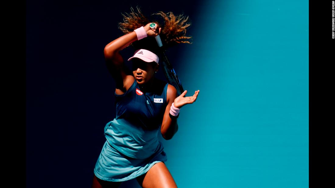 Naomi Osaka hits a forehand during a match against Yanina Wickmayer in the second round of the Miami Open on Friday, March 22. Osaka defeated Wickmayer in three sets.