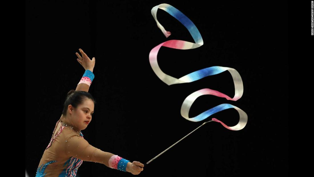Sophie Lacourse-Pudifin of Canada competes in rhythmic gymnastics during the Special Olympics World Games in Abu Dhabi, United Arab Emirates, on Wednesday, March 20.