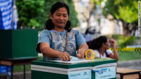 Thais vote on March 24 in Bangkok.