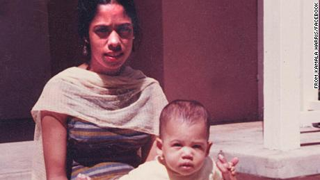 "A young Harris is seen with her mother, Shyamala, in this photo that was posted on Harris' Facebook page in March 2017. ""My mother was born in India and came to the United States to study at UC Berkeley, where she eventually became an endocrinologist and breast-cancer researcher,"" Harris wrote. ""She, and so many other strong women in my life, showed me the importance of community involvement and public service."""