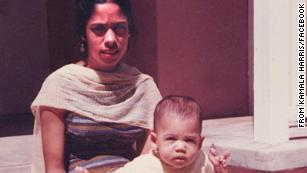 A young Kamala Harris is seen with her mother, Shyamala, in this photo that was posted on Harris' Facebook page in March 2017.