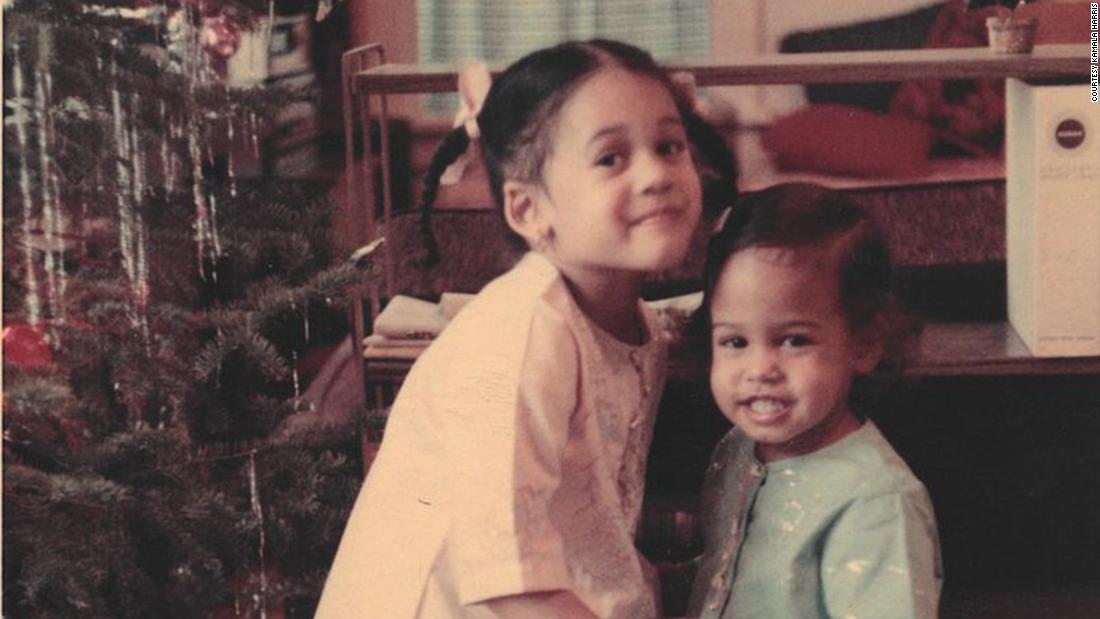 Harris and her younger sister, Maya, pose for a Christmas photo in 1968.
