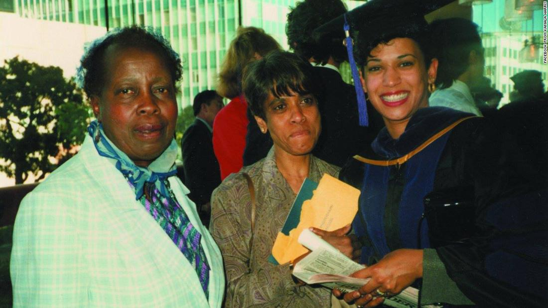 "Harris graduates from law school in 1989. ""My first grade teacher, Mrs. Wilson (left), came to cheer me on,"" Harris said. ""My mom was pretty proud, too."""