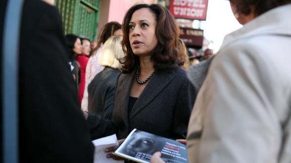 "Harris speaks to supporters before a ""No on K"" news conference in October 2008. The San Francisco ballot measure Proposition K sought to stop enforcing laws against prostitution. It was voted down on election day."