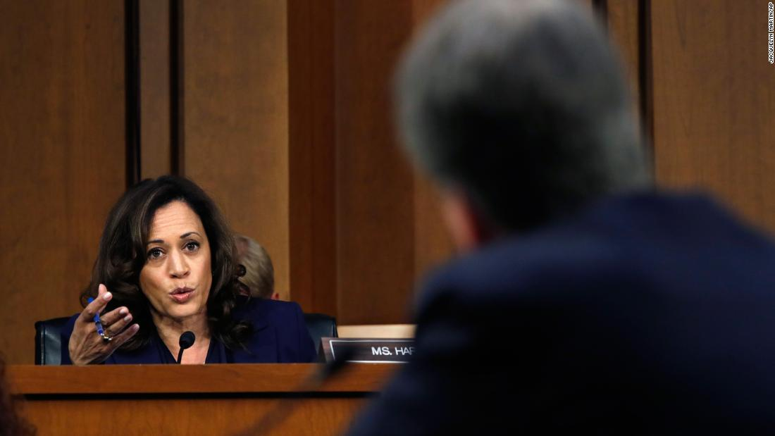 Harris presses Kavanaugh during his confirmation hearing.