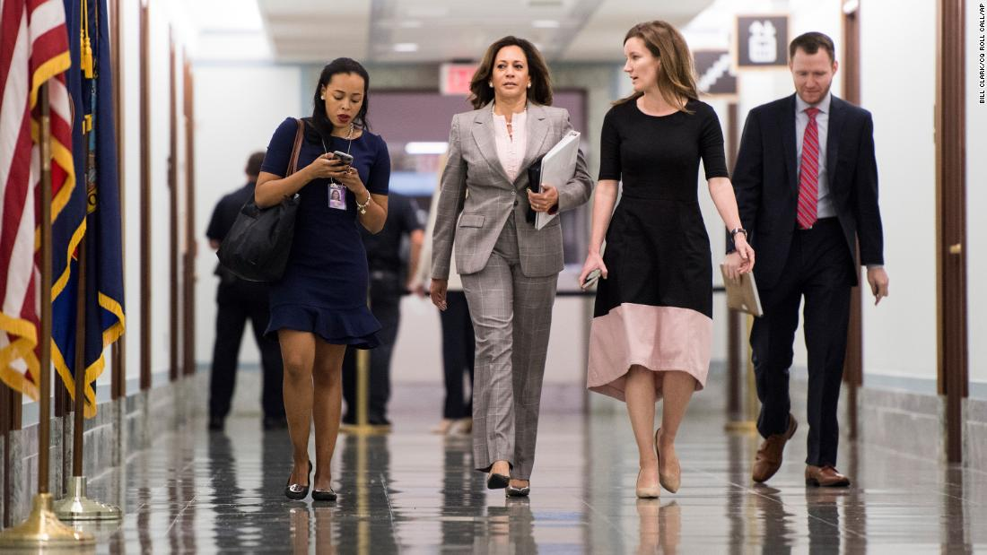 Harris arrives with staff for a Senate Judiciary Committee hearing in September 2018.