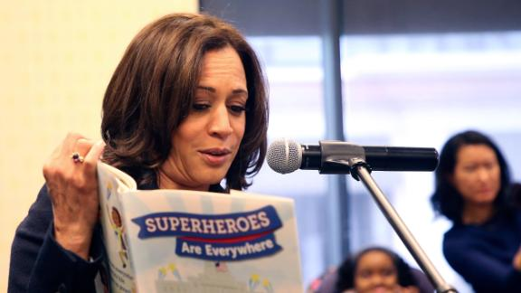 "Harris reads from her children's book ""Superheroes Are Everywhere"" during a book signing in Los Angeles in January 2019. She also released a memoir, ""The Truths We Hold: An American Journey."""