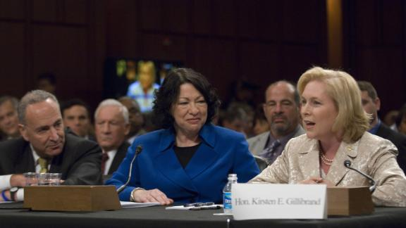 Gillibrand and Schumer introduce Supreme Court nominee Sonia Sotomayor during Sotomayor's confirmation hearings in 2009. Sotomayor is from the Bronx in New York City.