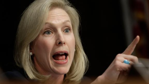 Gillibrand speaks in June 2013 while US military leaders testified before the Senate Armed Services Committee on legislation regarding sexual assaults in the military.