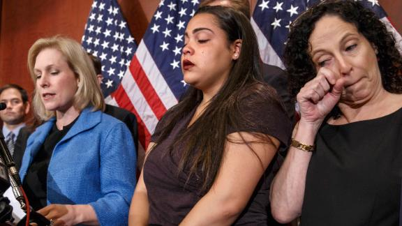 Gillibrand is joined by Anna, a survivor of sexual assault, and Anna's mother Susan during a news conference in Washington in July 2014. Gillibrand was discussing a bill called the Campus Accountability and Safety Act.