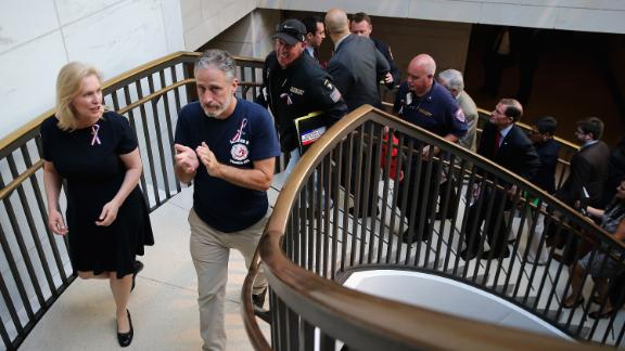 Comedian Jon Stewart joins Gillibrand at the US Capitol while calling for Congress to extend funding for victims of the 9/11 attacks.