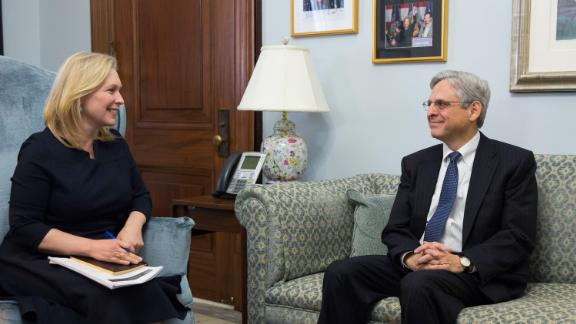 Gillibrand meets with Supreme Court nominee Merrick Garland in March 2016.