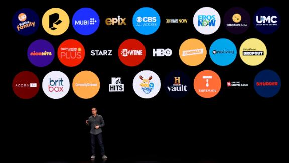CUPERTINO, CA - MARCH 25: Peter Stern, vice president of Services at Apple Inc., speaks during a company product launch event at the Steve Jobs Theater at Apple Park on March 25, 2019 in Cupertino, California. Apple announced the launch of it