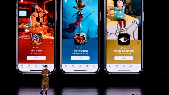 CUPERTINO, CA - MARCH 25: Ann Thai, senior product marketing manager of the App Store at Apple Inc., speaks during a company product launch event at the Steve Jobs Theater at Apple Park on March 25, 2019 in Cupertino, California. Apple announced the launch of it
