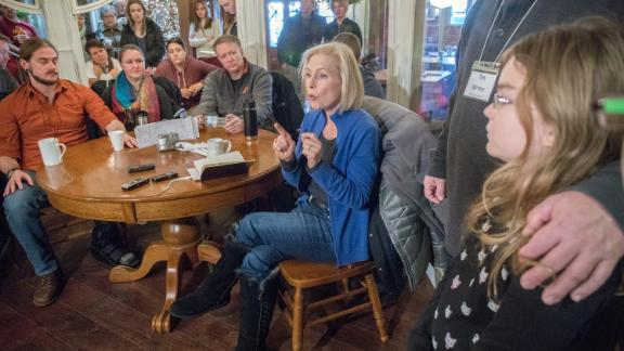 Gillibrand speaks to a crowd in Boone, Iowa, in January 2019.