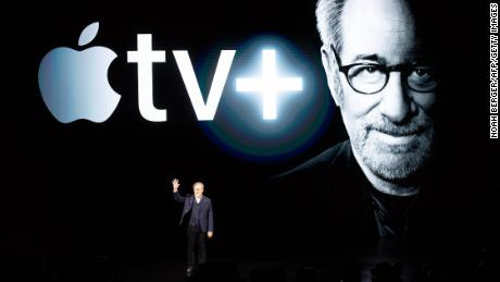 Director Steven Spielberg speaks during the launch of Apple TV +.