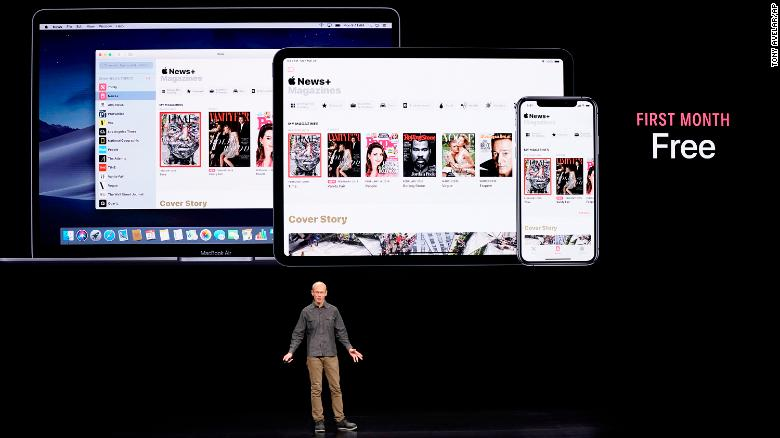 Roger Rosner, Apple vice president of applications, speaks at the Steve Jobs Theater during an event to announce new products Monday.