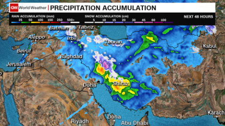 Middle East precipitation forecast over the next 48 hours