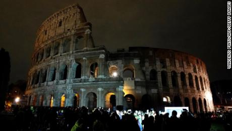 The Colosseum in Rome goes largely dark during the 2018 campaign.