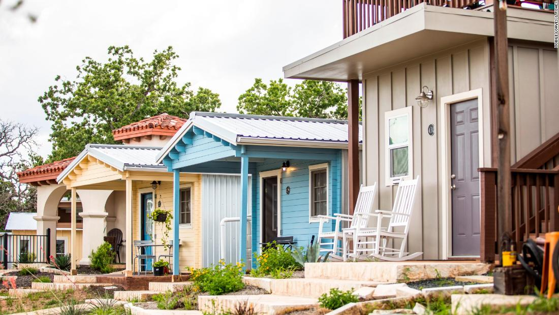 All the micro homes in Community First! Village offer front porches to encourage neighbors to get to know each other.