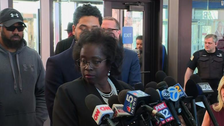 Patricia Brown Holmes, the attorney for Smollett, fields reporters' questions Tuesday in Chicago.