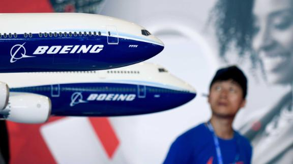 A Boeing 777X model is displayed at the Airshow China 2018 in Zhuhai in southern China
