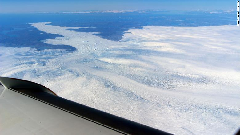 A view of the Jakobshavn Glacier from the window of a NASA research plane.