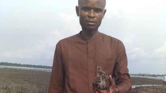 Legborsi shows a polluted land in Gokana in Bayelsa State