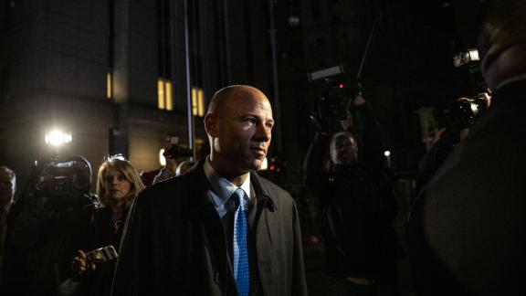 Michael Avenatti, attorney and founding partner of Eagan Avenatti LP, center, leaves the federal court in New York, U.S., on Monday, March 25, 2019. Avenatti was charged by federal prosecutors on both coasts, accused in New York of trying to extort millions of dollars from Nike Inc. and in Los Angeles of embezzling money from a client and defrauding a bank. Photographer: Jeenah Moon/Bloomberg via Getty Images