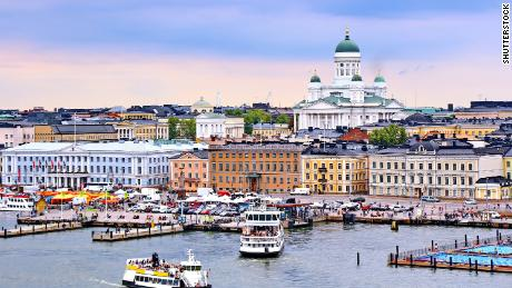 Helsinki, the capital of Finland, which has ranked as home to the world's happiest people for two years running.