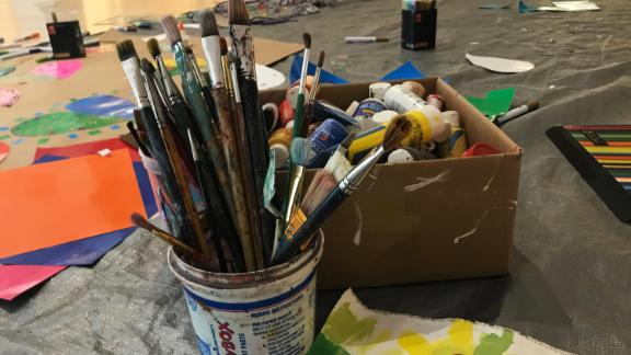 Art supplies sit in a gallery at the Coral Springs Museum of Art in Florida.