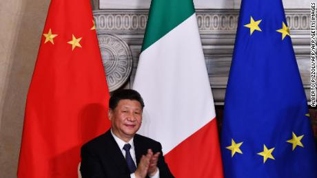 China's President Xi Jinping applauds during a signing ceremony of partnership agreements following a meeting with Italy's prime minister at Villa Madama in Rome on March 23, 2019 as part of a two-day visit to Italy. (Photo by Alberto PIZZOLI / AFP)        (Photo credit should read ALBERTO PIZZOLI/AFP/Getty Images)