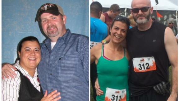 Helen Costa-Giles and her husband before and after getting fit.