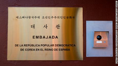 MADRID, SPAIN - MARCH 27: A placard at the entrance to the North Korean Embassy reads 'Embassy of the Democratic People's Republic of Korea in the Kingdom of Spain' on March 27, 2019 in Madrid, Spain. The North Korean Embassy was raided last February by 10 people. According to the High Court judge, the gang interrogated diplomats inside the embassy, stole hardware, and escaped on a flight to New York from Lisbon. The Spanish authorities have identified seven of the gang who later allegedly offered the stolen data to the FBI.   (Photo by Pablo Blazquez Dominguez/Getty Images)