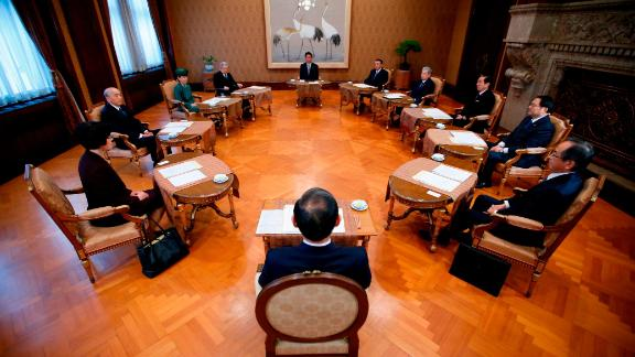 Japan's Prime Minister Shinzo Abe attends a meeting of the Imperial Household Council to discuss the timeline for the abdication of Japan's Emperor Akihito on December 1, 2017.