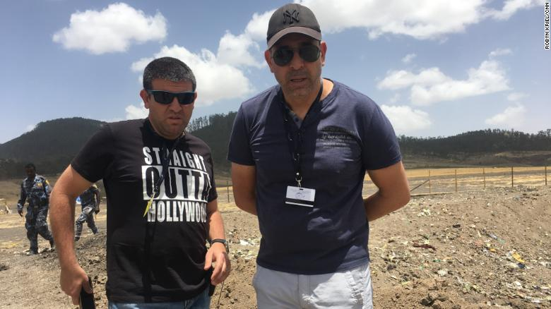 Israelis Moshe Biton and Ilan Matsliah, who lost their brothers in the Ethiopian Airlines crash, visit the site.