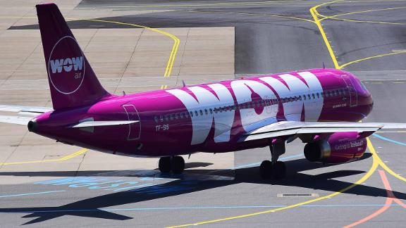 A Wow Air flight on the tarmac in Frankfurt.