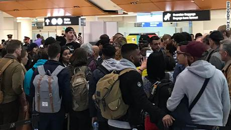 "From tweet: ""20 min to board, @wowairsupport cancels the flight. But then sends an email that it's just delayed until 9pm. Oh but the crew left because it was cancelled. Updates coming from the guy in the middle of this crowd."""
