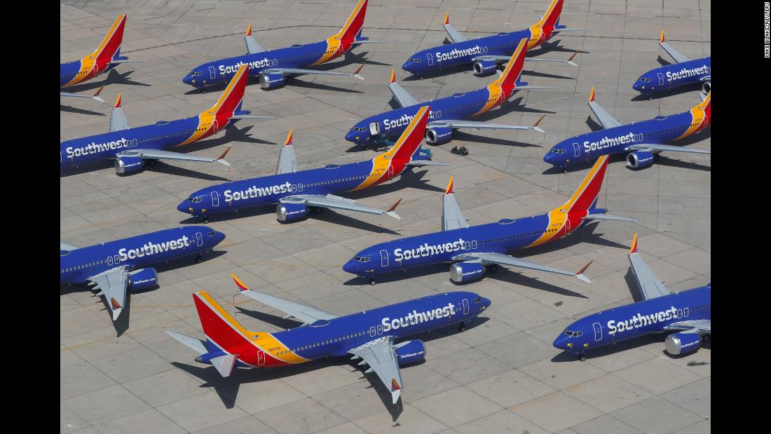 "A bunch of Boeing 737 MAX airplanes are parked at an airport in Victorville, California, on Tuesday, March 26. Many countries, including the United States, <a href=""https://www.cnn.com/2019/03/13/politics/donald-trump-boeing-faa/index.html"" target=""_blank"">grounded the 737 MAXs</a> following two fatal crashes in a little more than five months. Southwest Airlines <a href=""https://www.cnn.com/2019/03/27/investing/southwest-airlines-growth/index.html"" target=""_blank"">has more of the planes</a> than any other US airline."