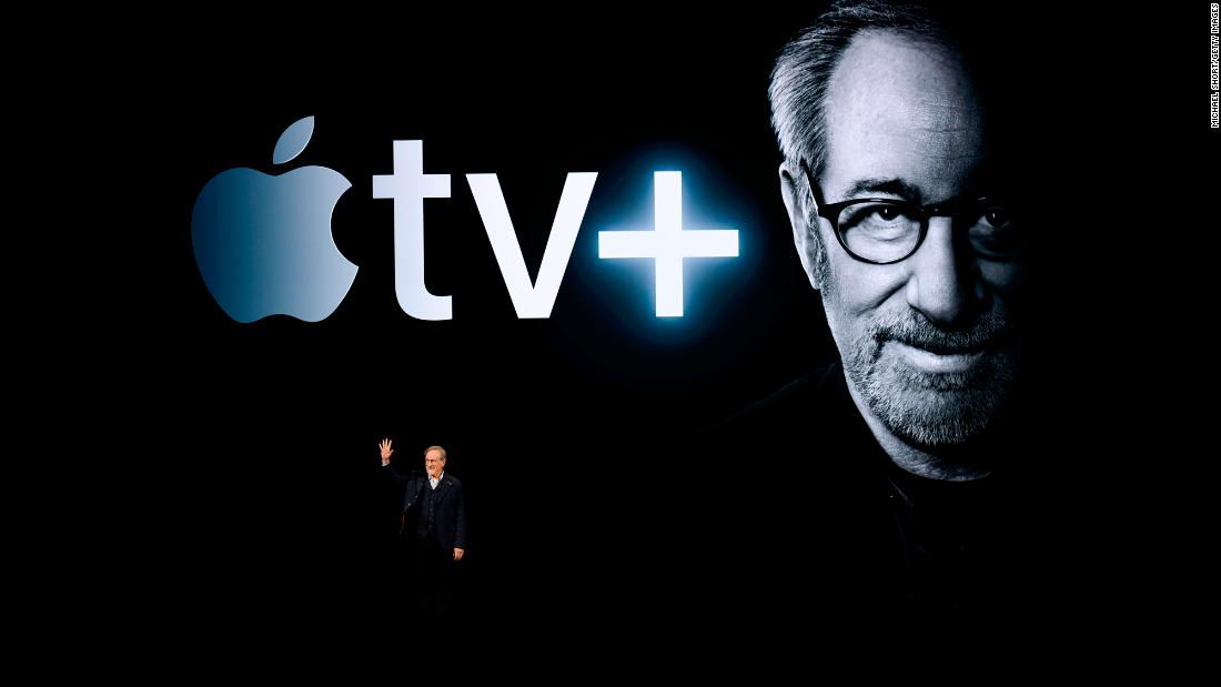 "Film director Steven Spielberg speaks during an Apple product launch event on Monday, March 25. Spielberg was <a href=""https://www.cnn.com/2019/03/26/tech/apple-streaming/index.html"" target=""_blank"">one of several Hollywood stars who helped Tim Cook introduce Apple TV+,</a> the company's new streaming service."