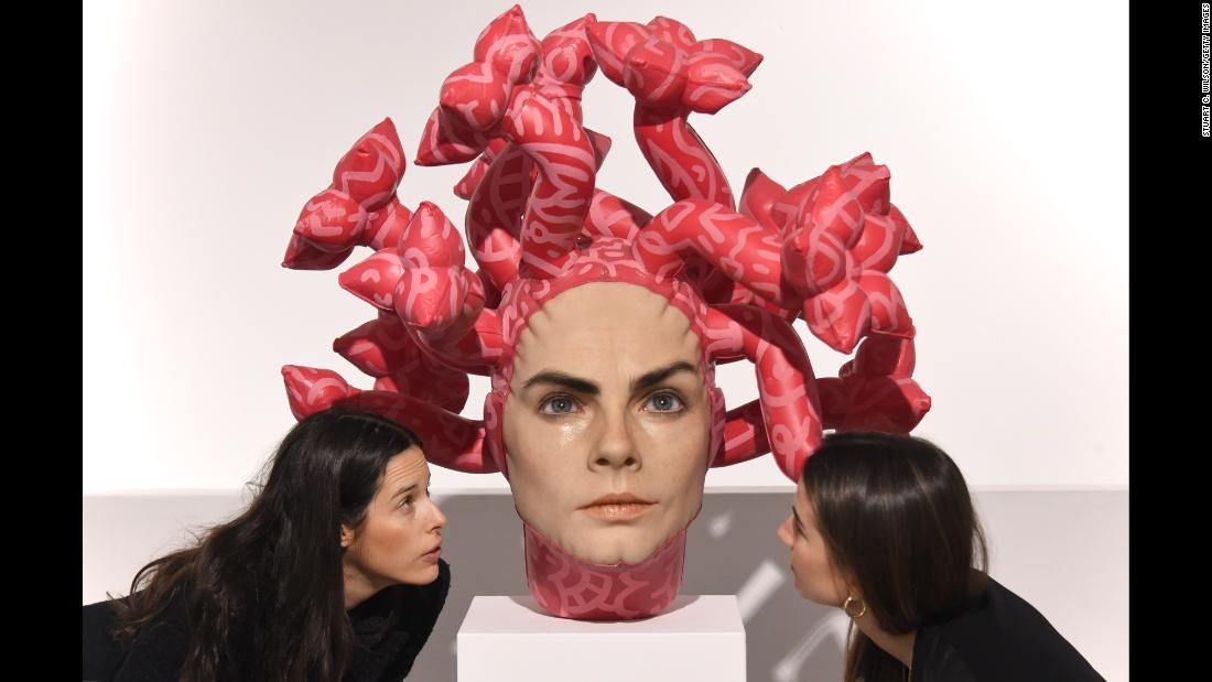 "Aspencrow's ""Olympe"" sculpture is unveiled at the JD Malat Gallery in London on Wednesday, March 27. The artwork depicts model and actress Cara Delevingne."