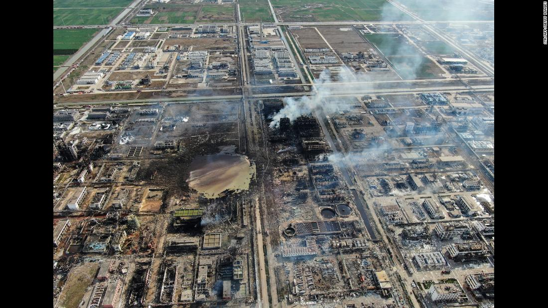 "This aerial photo, taken on Friday, March 22, shows a chemical plant after <a href=""https://www.cnn.com/2019/03/21/asia/china-chemical-plant-explosion-intl/index.html"" target=""_blank"">a powerful explosion</a> in Yancheng, China. At least 64 people were killed, and more than 90 others were severely injured."