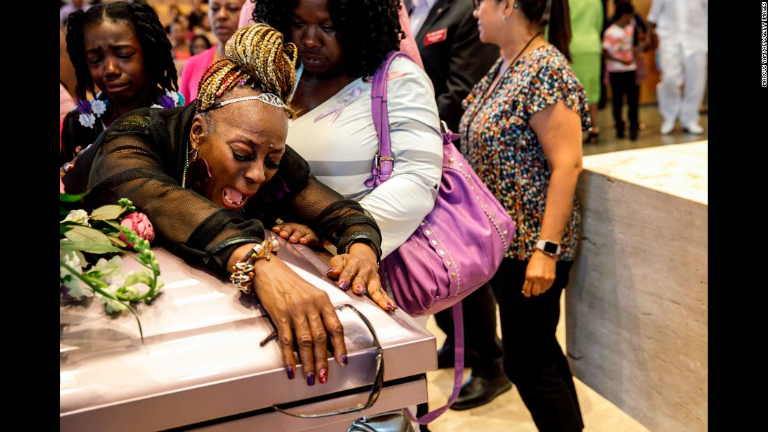 "Diana Wilson mourns for her granddaughter, Trinity Love Jones, <a href=""https://www.cnn.com/2019/03/25/us/trinity-love-jones-memorial-service/index.html"" target=""_blank"">during a service</a> in Hacienda Heights, California, on Monday, March 25. The 9-year-old's body was found in a duffel bag near an equestrian trail earlier this month. Trinity's mother, Taquesta Graham, and her boyfriend, Emiel Hunt, are accused of killing Trinity on March 1, according to a criminal complaint. They are both in custody."