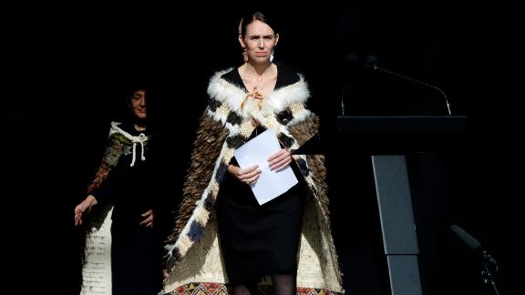 New Zealand Prime Minister Jacinda Ardern walks onto the stage to address a national remembrance service in Hagley Park for the victims of the March 15 mosque terrorist attack in Christchurch, New Zealand, Friday, March 29, 2019. (AP Photo/Mark Baker)