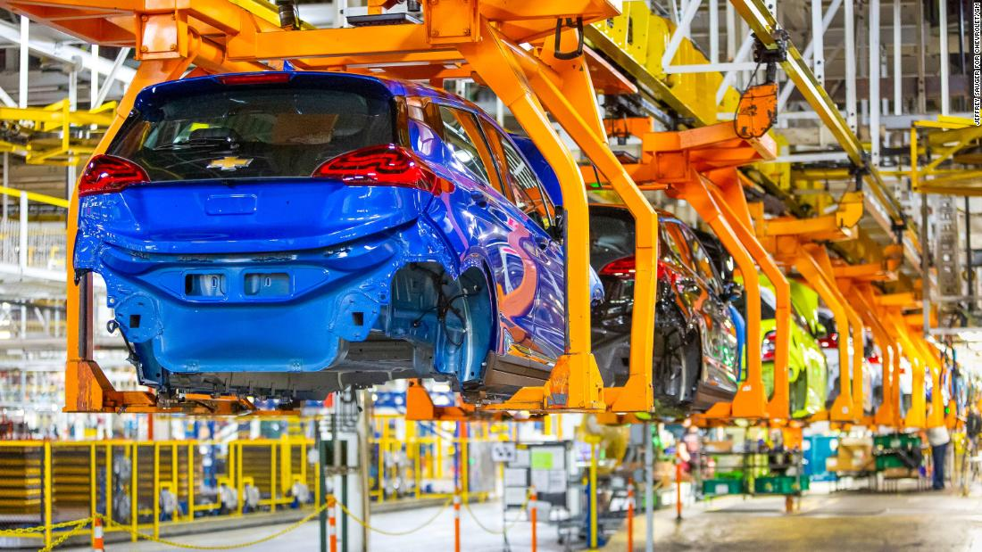 GM's electric car response to Tesla — the Chevrolet Bolt — is produced in its plant in Orion Township, Michigan.